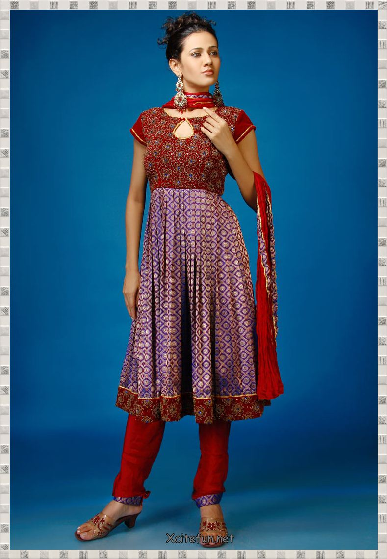 Anarkali umbrella frock dress with churidar pajama