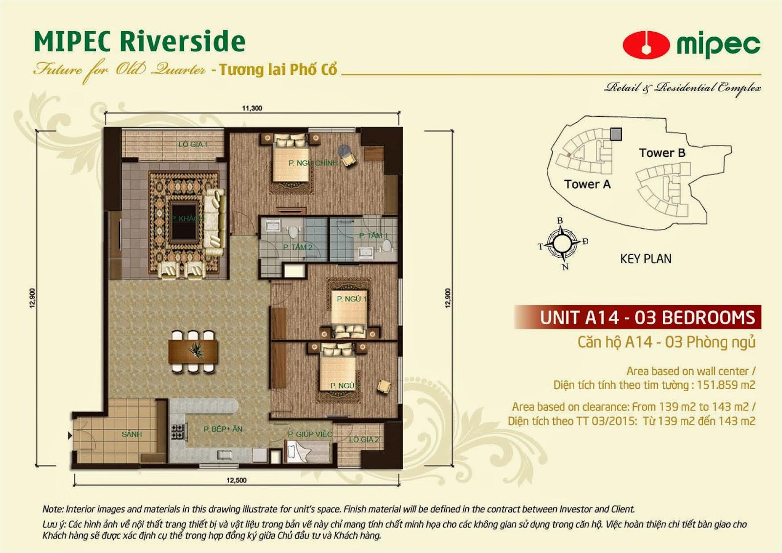 Căn A14 - 151m Mipec Riverside