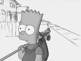 The fictional character of Bart Simpson from Simpson movie running away from home.
