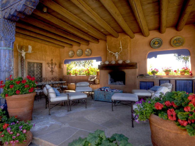 Estilo rustico living rustico estilo santa fe for Casas de diseno santa fe