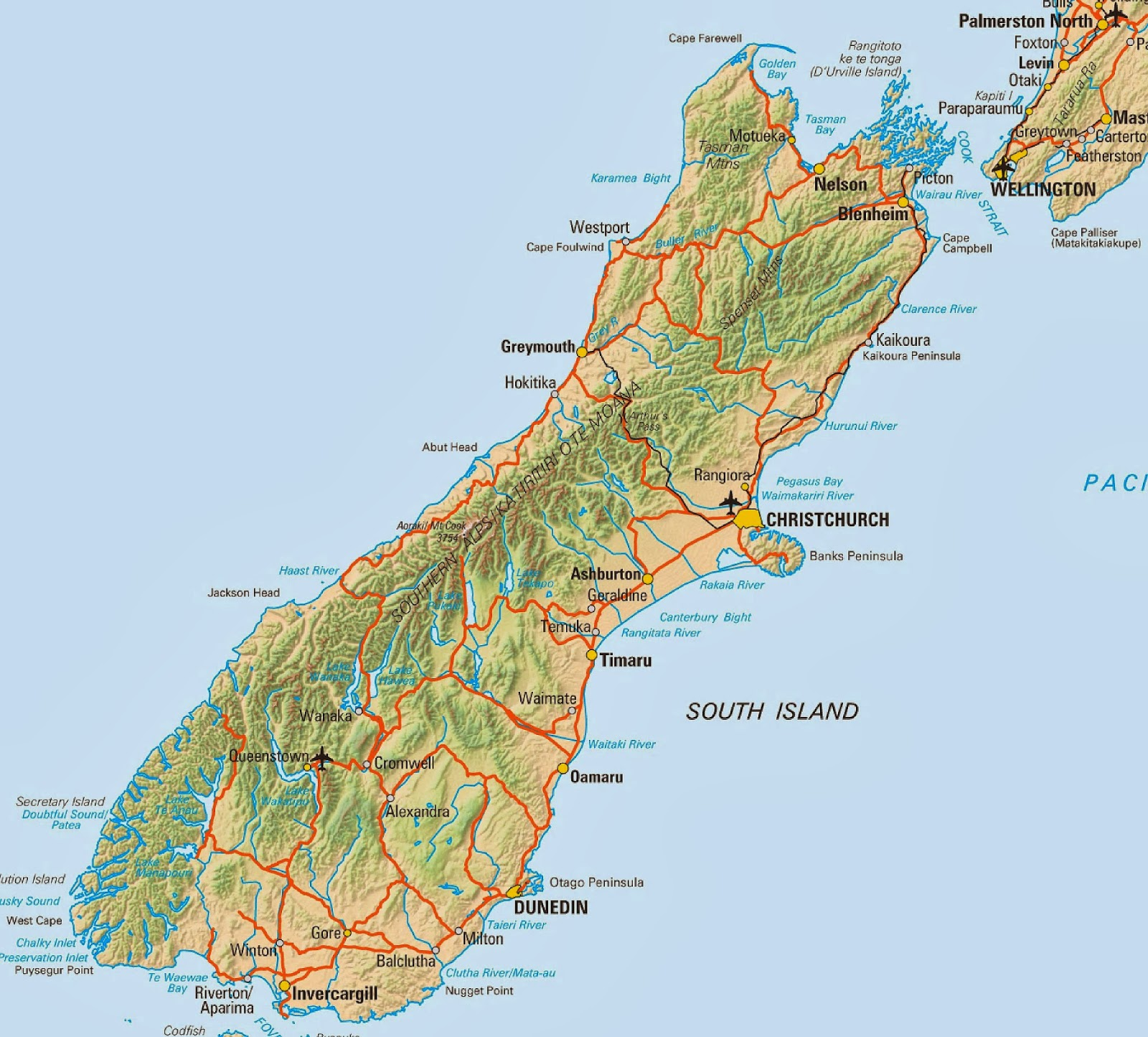 Geography Blog Map of New Zealand South Island