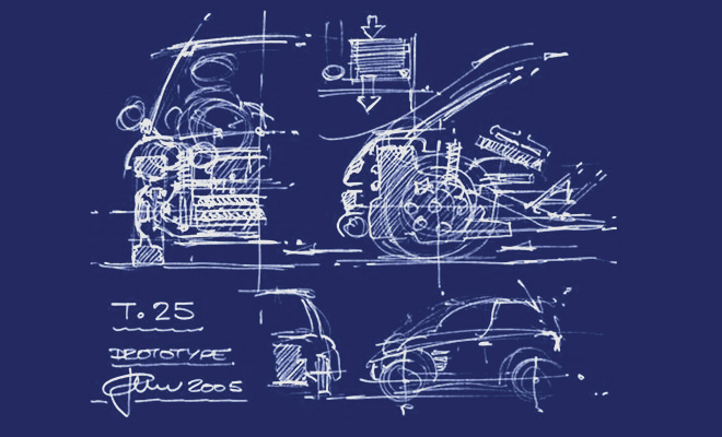 Gordon Murray T25 initial sketch