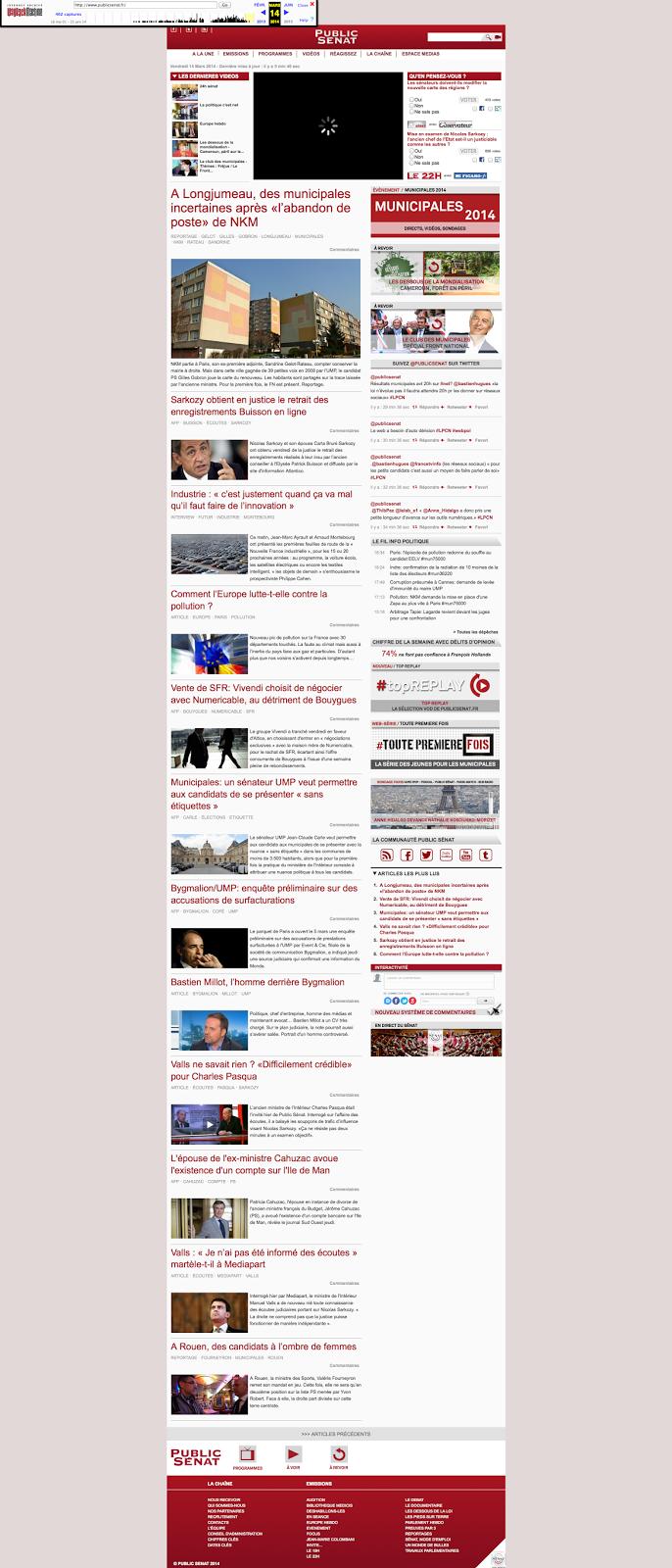 Le fil info Public Sénat en 2014