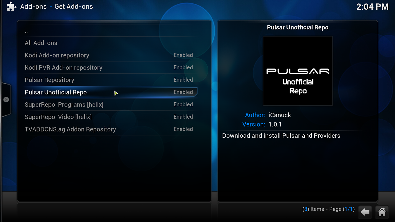 Pulsar install add-on