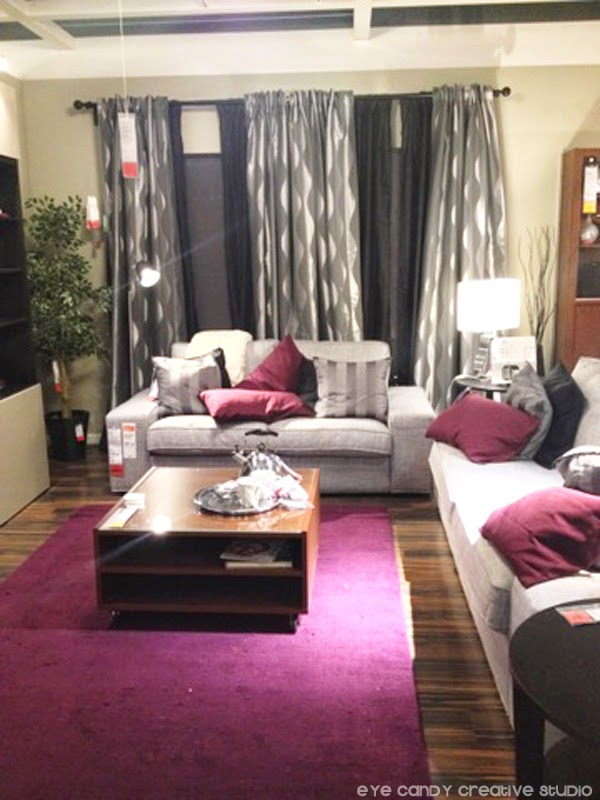 living room, berry & grey, IKEA shopping finds, grey couch, berry area rug
