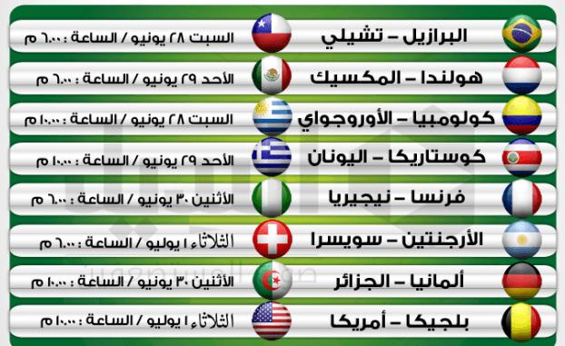 جدول مباريات دور الستة عشر كأس العالم بالبرازيل 2014