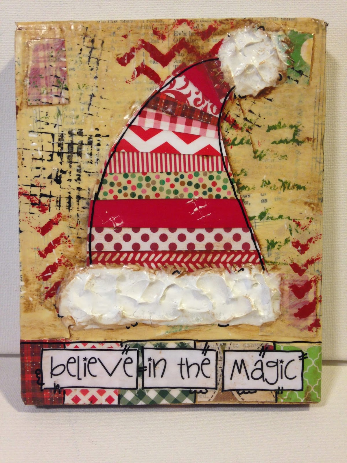 santa mixed media, mixed media christmas