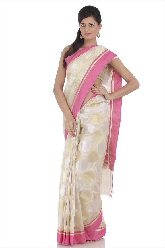 Beige Tissue Banarasi Saree