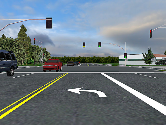 "A ""permitted"" left turn in this driving simulator illustrates the complexity - watching the signal, watching the traffic, and watching for pedestrians all at the same time. Credit: Oregon State University"