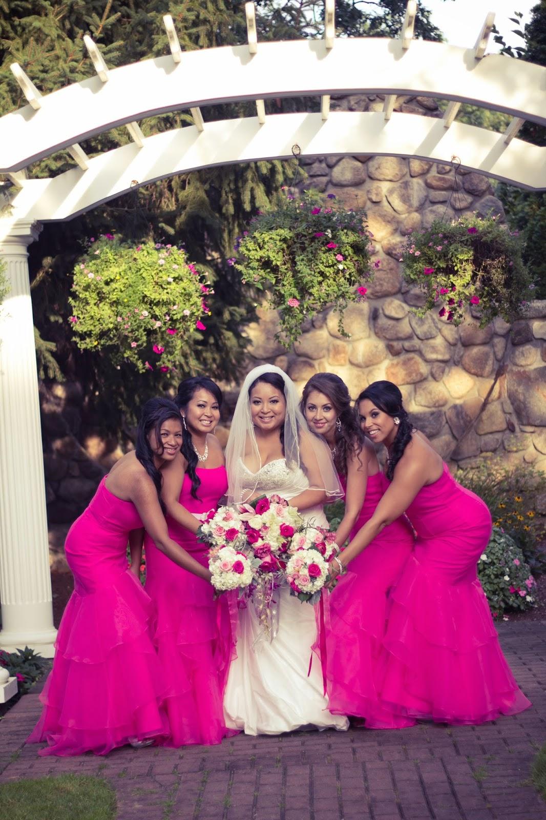 Begonia colored bridesmaid dresses