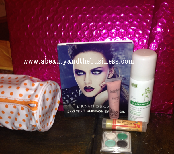 Urban Decy 24/7 Glide-on eye pencil in Plushie, ipsy august, ipsy august 2014, Klorane Dry Shampoo with Oat Milk, Bee All Natural Organic Lip Balm, Manna Sheer Glo Shimmer Lotion, CoastalScents eyeshadow,