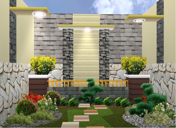 untuk contoh desain taman rumah minimalis terbarunya bisa kalian lihat