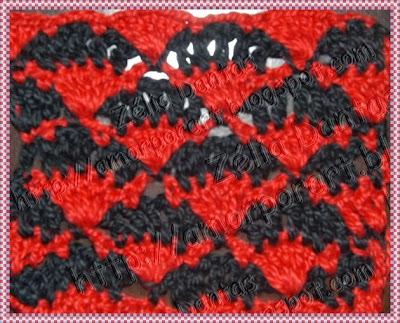 Ponto de Crochê em duas cores com gráfico