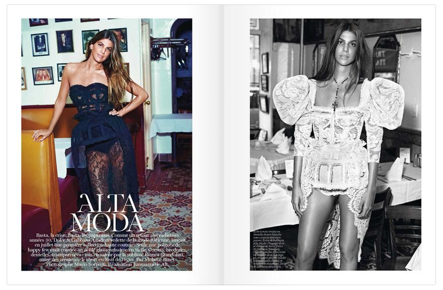 Bianca Brandolini par Mario Sorrenti dans Vogue Paris octobre 2012
