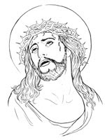 Religious coloring page of Jesus with crown of thorns during crucifixion