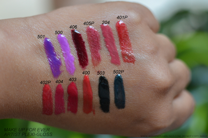 MUFE Make Up For Ever Artist Plexigloss Swatches 402P 404 403 400 501 500 406 405P 204 401P