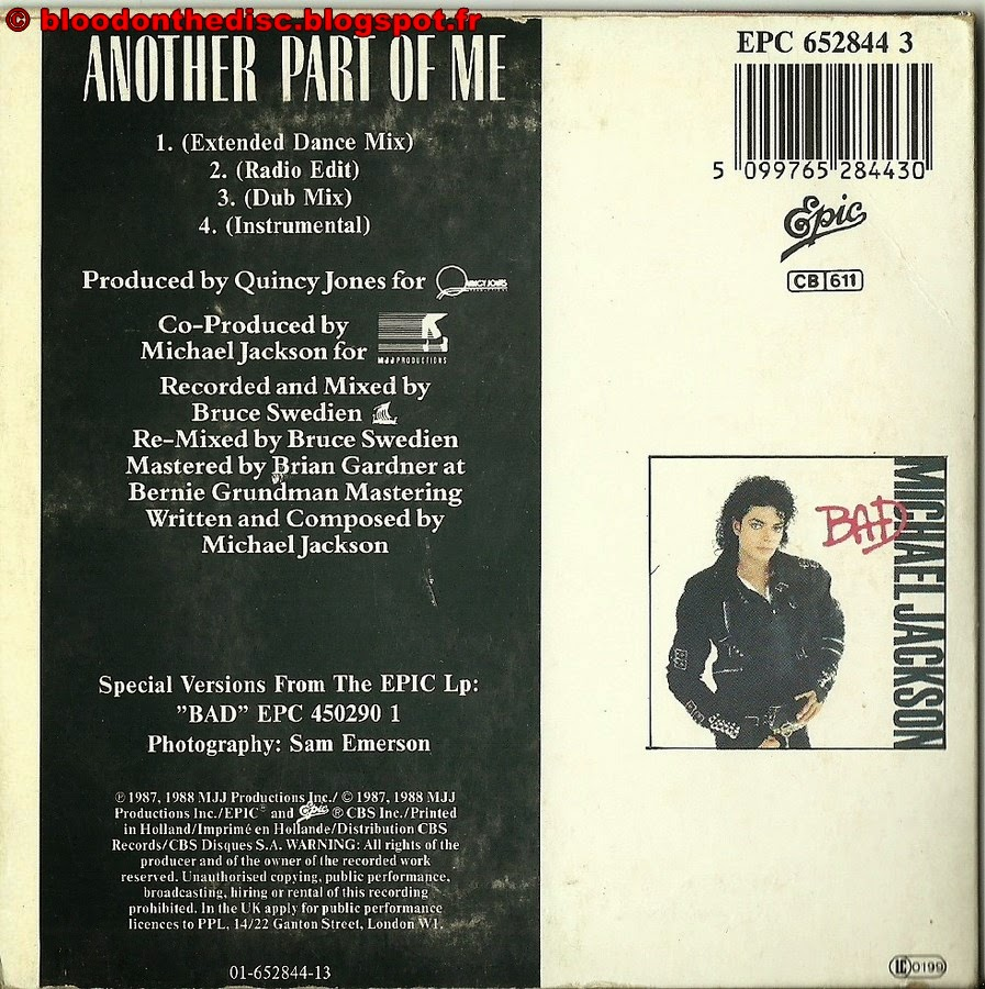 """Another Part Of Me 3"""" Back Cover"""