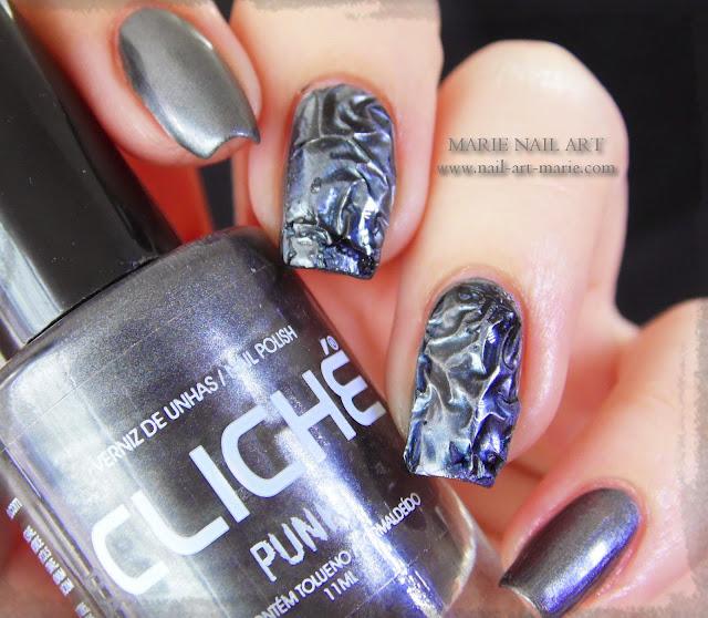 Nail Art effet métal froissé 3D3