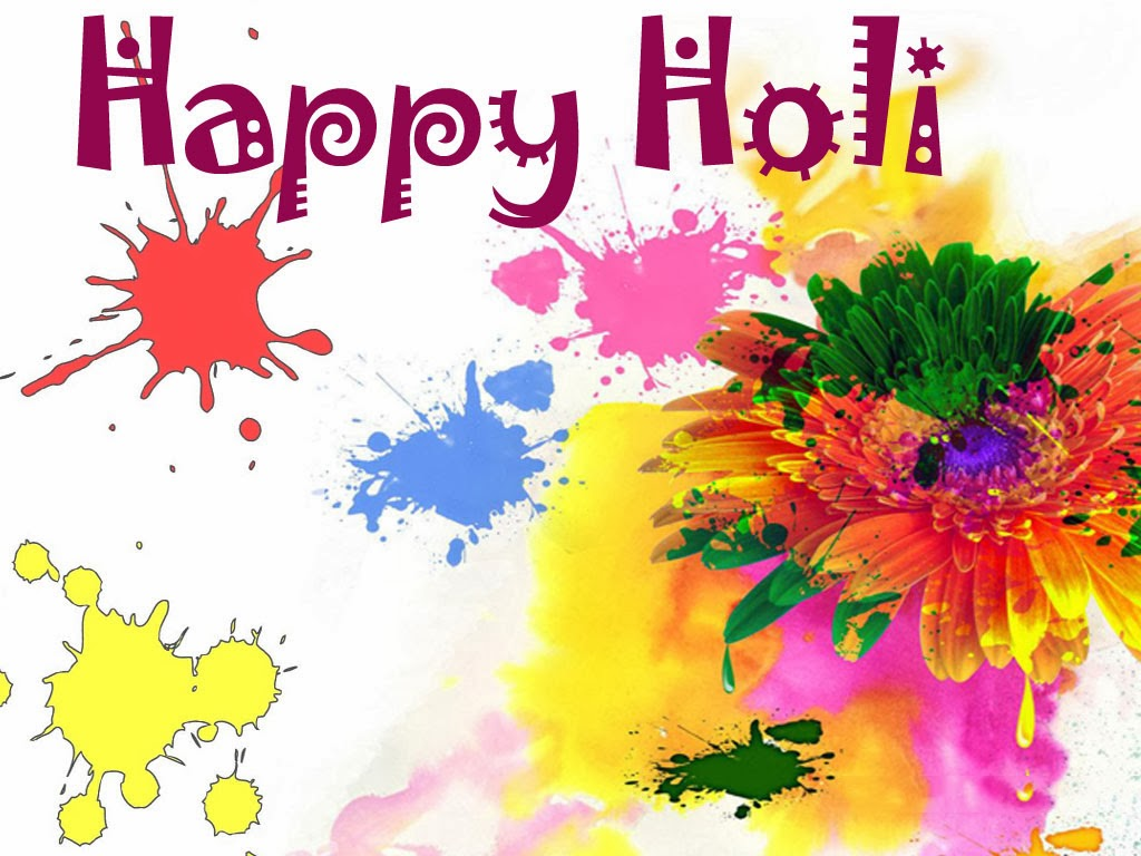 Happy holi with colourful flower wallpapers