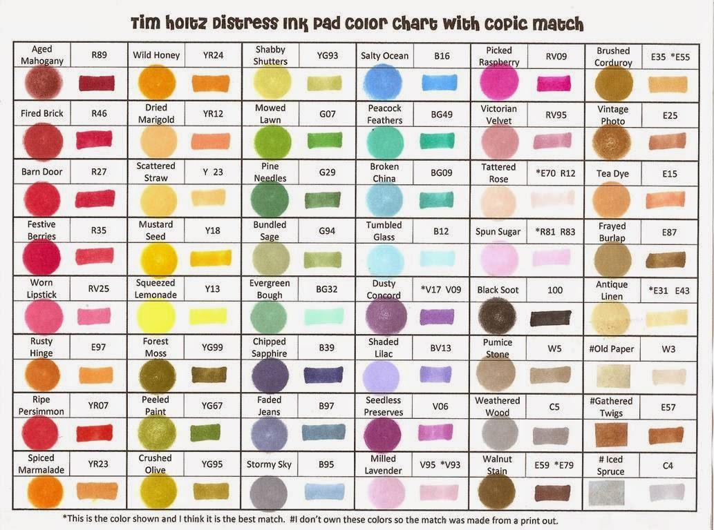 un nuancier de concordance copicdistress - Nuancier Crazy Color