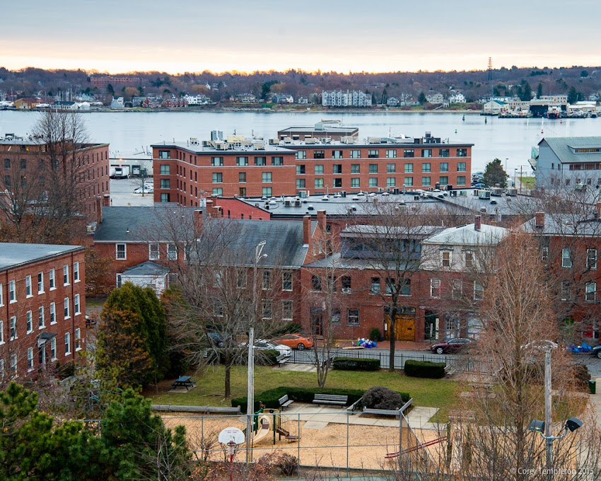 Portland, Maine USA December 2015 photo by Corey Templeton. A view this morning looking over Pleasant Street Park towards the harbor.