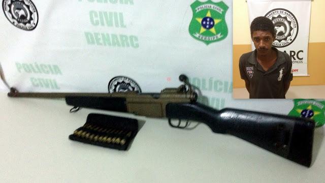 Homem é preso com fuzil calibre 762 no Novo Horizonte em Nossa Senhora do Socorro