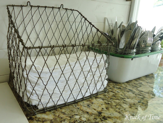 Farmhouse Kitchen Remodel Antique Wire Basket via KnickofTimeInteriors.blogspot.com
