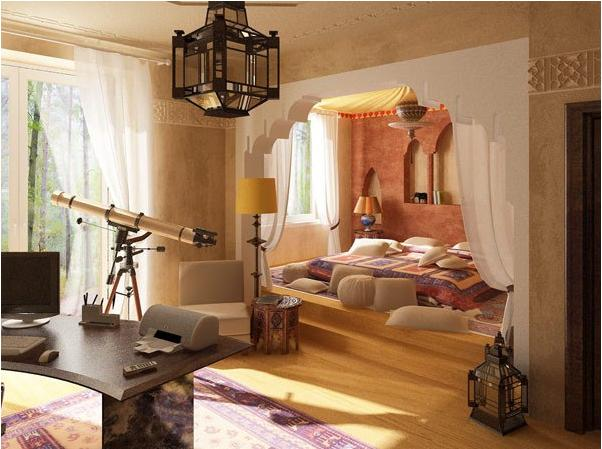 Moroccan style bedroom home decorating ideas home - Decoration bureau maison ...