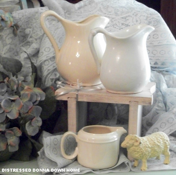 ironstine pitchers, creamers, milk glass, styling vignettes, blogging