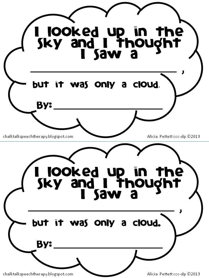 Cloud worksheets for preschoolers