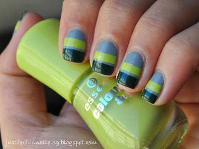 Striping Tape Mani for Fall (Green & Grey Combo)