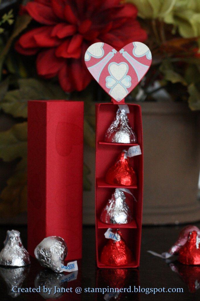Stampin nerd valentines sliding treat holder tutorial - Hershey kiss dispenser ...