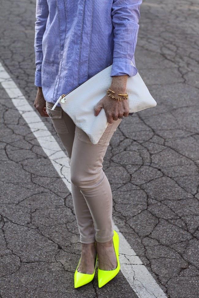 joie pants, kate spade heels, clare v clutch, vita fede bracelet