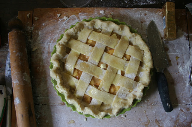 Peach Pie with Lattice Top, before baking