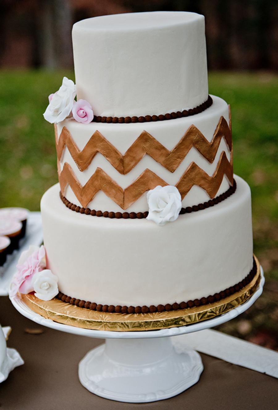 gold chevron cake, chevron cake