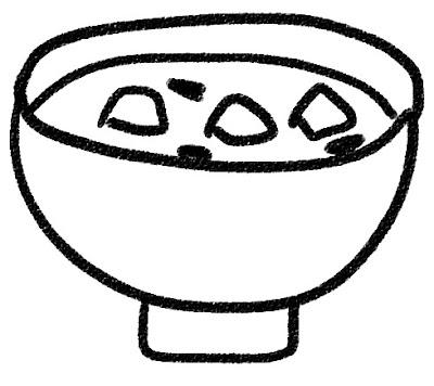 お味噌汁のイラスト モノクロ線画