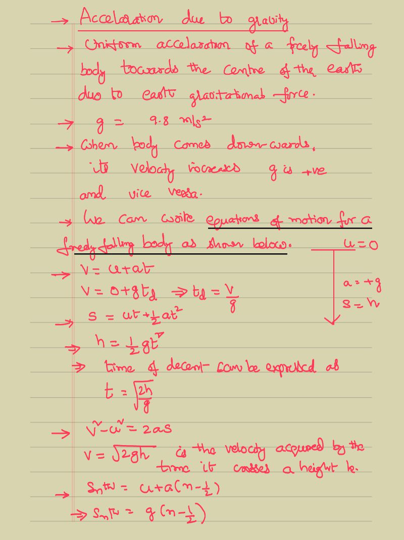 Acceleration Due To Gravity Equation