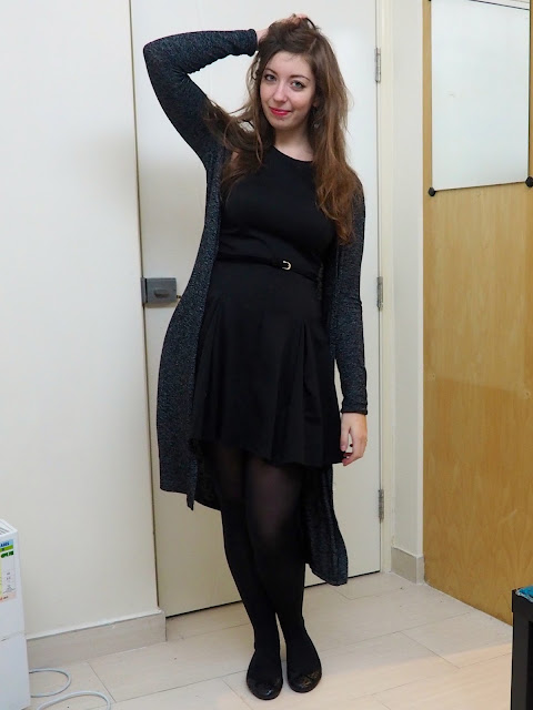 LBD - outfit of little black skater dress with velvet belt, grey cardigan, black tights and flat ballet shoes