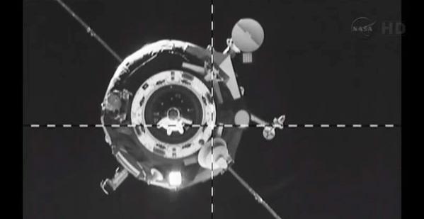 Progress M-20M cargo spacecraft successfully docks with ISS. Credit: NASA TV