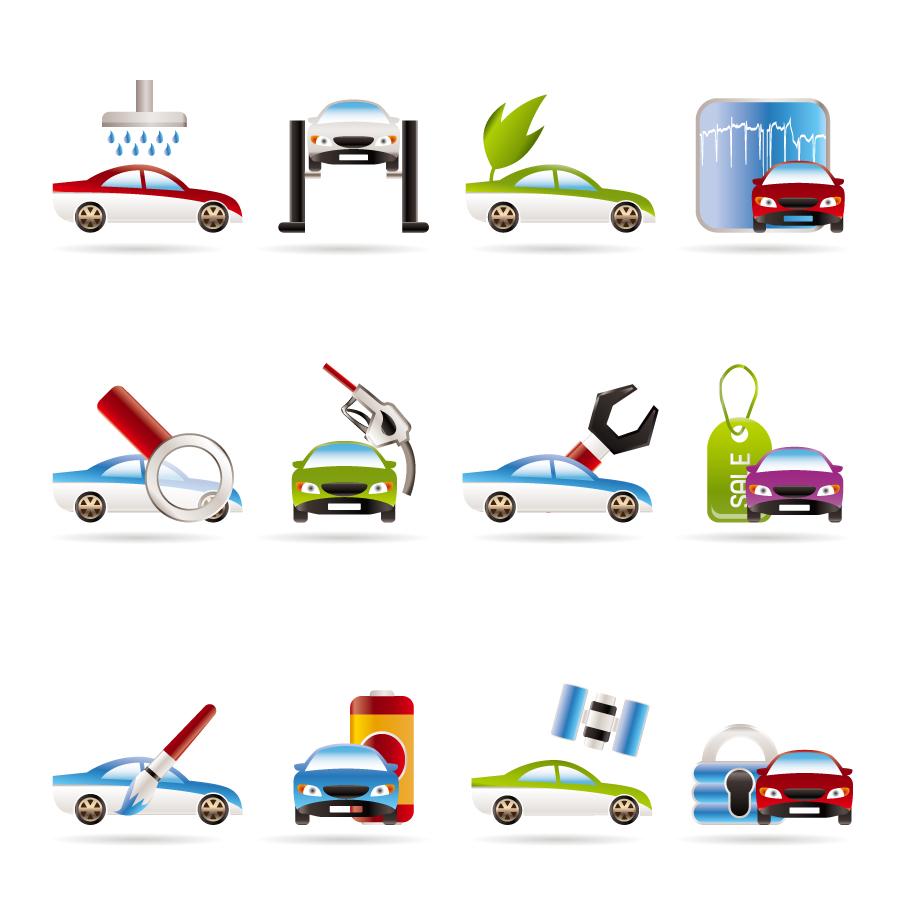 自動車サービスのアイコン Car Services icons イラスト素材