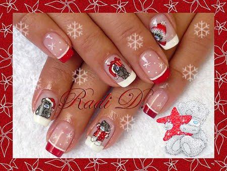 Коледни декорации на нокти с меченца