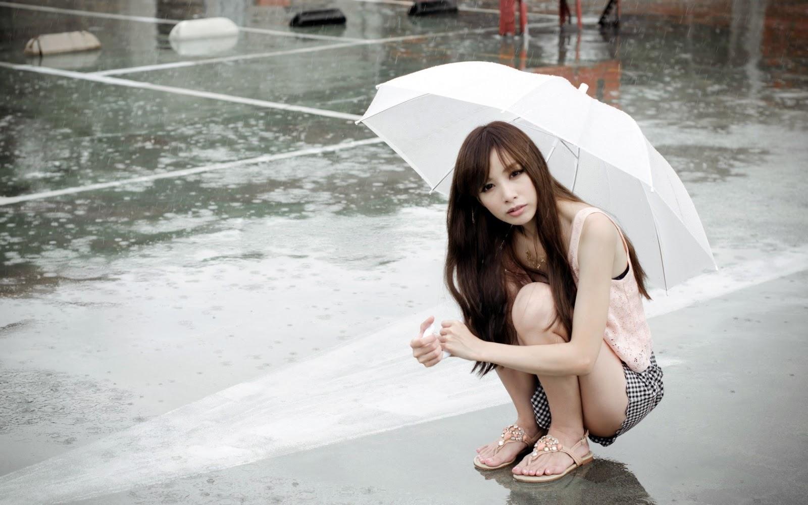 Cute and Beautiul girl in rain wallpapers