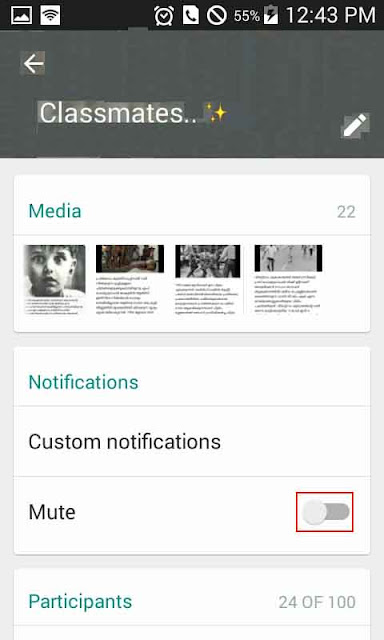 Mute whatsapp notification tone