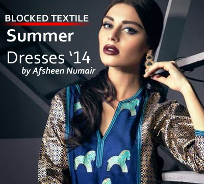 Blocked Textile Summer Dresses 2014 By Afsheen Numair