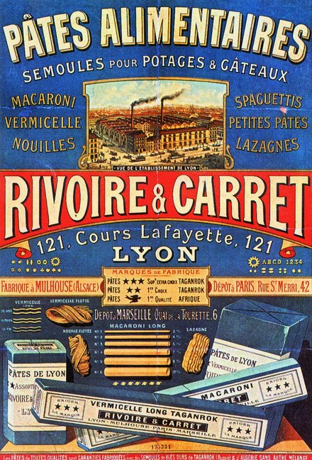 advertising, classic posters, free download, french poster, graphic design, retro prints, vintage, vintage posters, food, Pates Alimentaires, Rivoire & Carret - Vintage French Poster