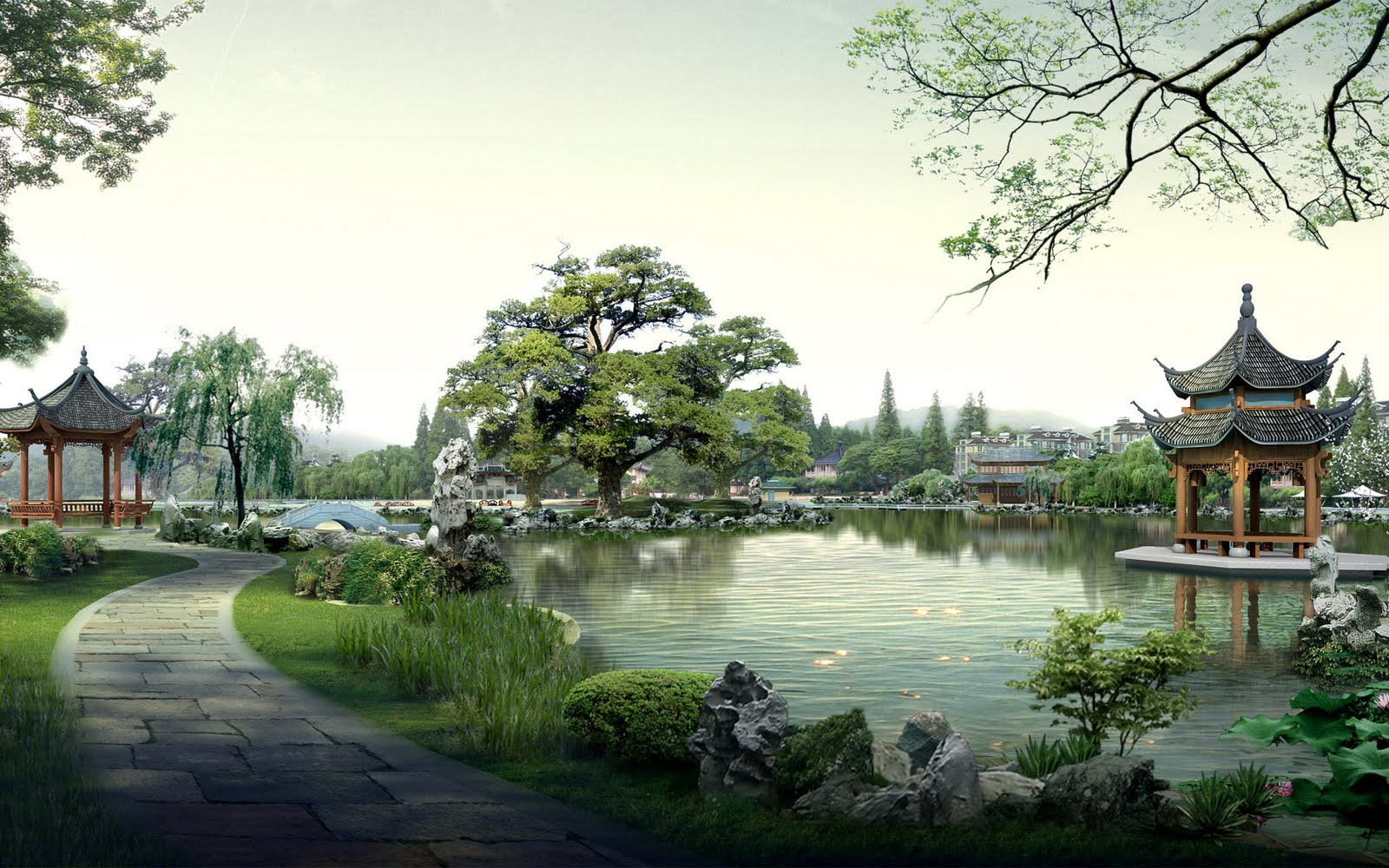 Japanese wallpapers: Digital Asian landscape wallpapers