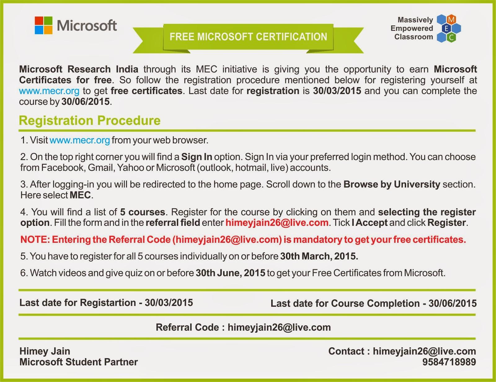 Free microsoft certification 1betcityfo Choice Image
