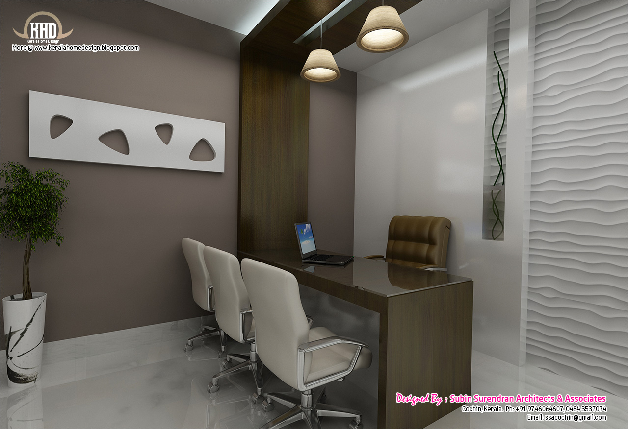 Black and white themed interior designs kerala home for Small office interior design ideas pictures