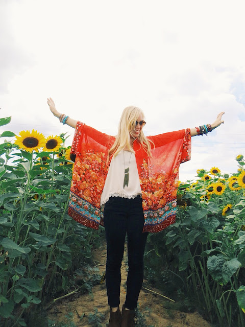 Wholesale Buying red kimono, The Quarrier fringe necklace, Twisted Whimsy crescent moon ring, AMI Clubwear fringe booties, boho outfit, bohemian outfit, sunflower field