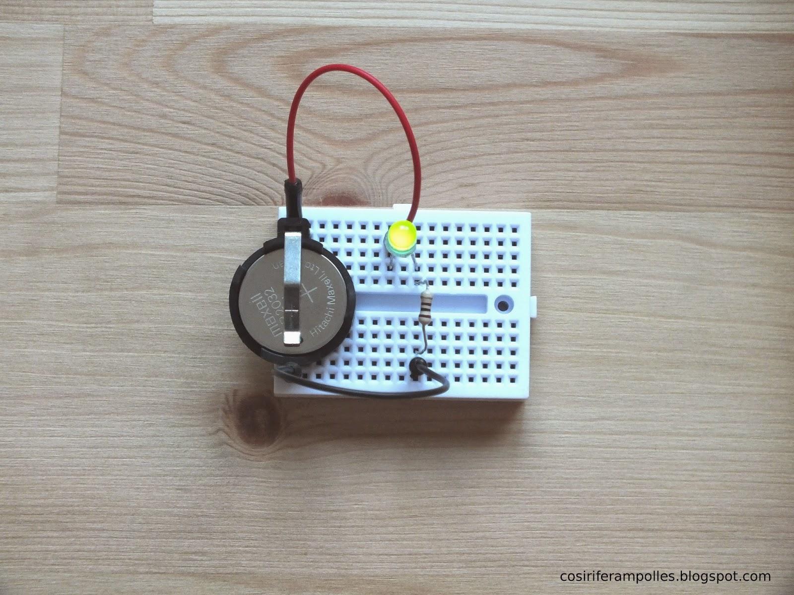 Circuito Basico : Cosir i fer ampolles: circuito básico: encender un led